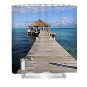 Beach Deck With Palapa Floating In The Water Shower Curtain