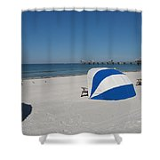 Beach With Beachchairs Shower Curtain