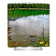 Beauvert Lake In Jasper National Park-alberta-canada Shower Curtain