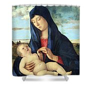 Bellini's Madonna And Child In A Landscape Shower Curtain