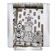 Berlin Wall Avatars Shower Curtain