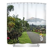 Besakih Temple And Mount Agung View In Bali Indonesia Shower Curtain