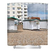 Bexhill Beach Huts Shower Curtain