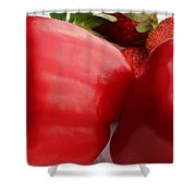 Big Red Peppers And Strawberries  Shower Curtain