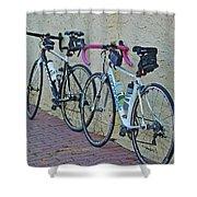 2 Bikes Against Wall Shower Curtain