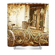 Bikes And A Window Shower Curtain