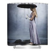 Black Umbrella Shower Curtain