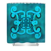 Blue Double Scroll Shower Curtain