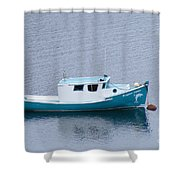 Blue Moored Boat Shower Curtain