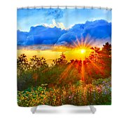 Blue Ridge Parkway Late Summer Appalachian Mountains Sunset West Shower Curtain