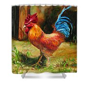 Blue-tailed Rooster Shower Curtain