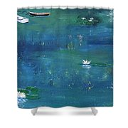 2 Boats In The Lily Pond Shower Curtain