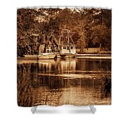 2 Boats On The Bon Secour Sepia Shower Curtain