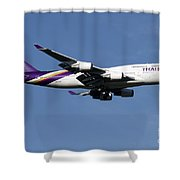 Boeing 747-400 Of Thai International Shower Curtain