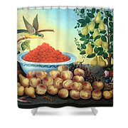 Bond's Still Life Of Bird And Dwarf Pear Tree Shower Curtain