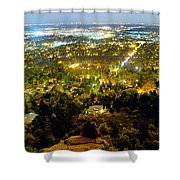 Boulder Colorado City Lights Panorama Shower Curtain