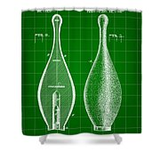 Bowling Pin Patent 1895 - Green Shower Curtain