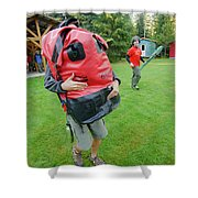 Boy Scouts Canoeing On The Bowron Lakes Shower Curtain