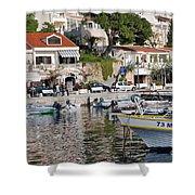 Brela Harbour Croatia Shower Curtain