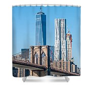 Brooklyn Bridge And New York City Manhattan Skyline Shower Curtain