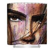 Brown Iris Entangled Shower Curtain