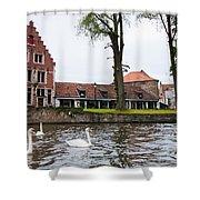Brugge Canal Scene Shower Curtain