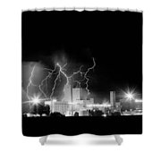 Budweiser Lightning Thunderstorm Moving Out Bw Shower Curtain by James BO  Insogna