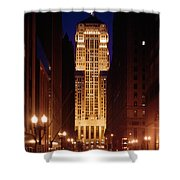 Buildings Lit Up At Night, Chicago Shower Curtain