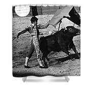 Bull Fight Matador Charging Bull Us-mexico  Border Town Nogales Sonora Mexico 1978-2012 Shower Curtain