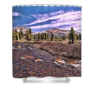 Canadian Rockies Stream Shower Curtain