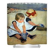 Cassatt's Children Playing On The Beach Shower Curtain