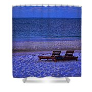 2 Chairs On A Blue Morning  Shower Curtain