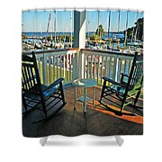 2 Chairs On The Fairhope Yacht Club Porch Shower Curtain
