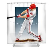 Chase Utley Shower Curtain by Scott Weigner