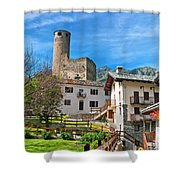Chatelard Village With Castle Shower Curtain