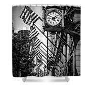 Chicago Macy's Clock In Black And White Shower Curtain by Paul Velgos