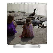 Children At The Pond 3 Shower Curtain