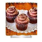 Chocolate Caramel Cupcakes Shower Curtain