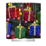 Christmas Present Ornaments Shower Curtain