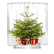 Christmas Tree Decorated With Presents  Shower Curtain