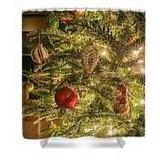 Christmas Tree Ornaments Shower Curtain