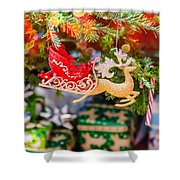 Christmas Tree Ornaments And Decorations Shower Curtain