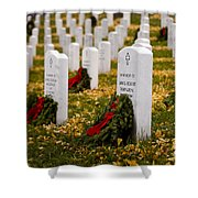 Christmas Wreaths Laid At The Arlington Cemetery Shower Curtain