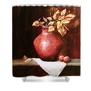 Clay Vessel And Peaches Shower Curtain