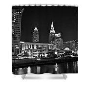 Cleveland In Black And White Shower Curtain