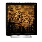 Coca Cola Wooden Sign Shower Curtain