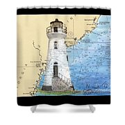 Cockspur Island Lighthouse Ga Nautical Chart Map Art Cathy Peek Shower Curtain