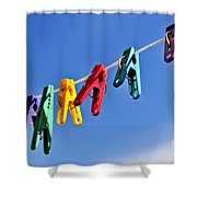 Colorful Clothes Pins Shower Curtain by Elena Elisseeva
