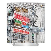 Colorful Neon Sign On Bourbon Street Corner French Quarter New Orleans Colored Pencil Digital Art Shower Curtain