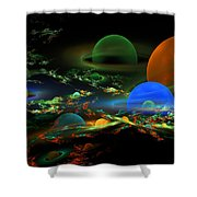 Computer Generated Spheres Abstract Fractal Flame Art Shower Curtain